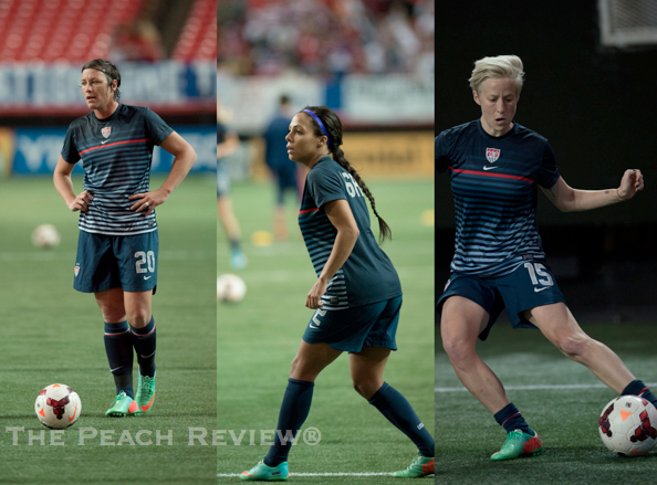 Abby Wambach, Sydney Leroux, and Megan Rapinoe/Hakim Wright