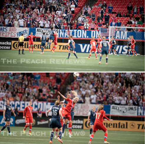 A packed house to support the ladies. Wambach gets major air/Hakim Wright