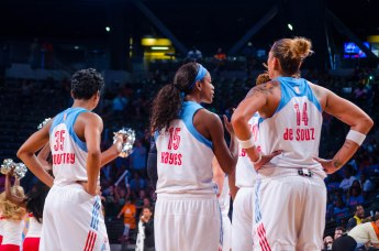 Angel McCoughtry, Tiffany Hayes, and Erika de Souza