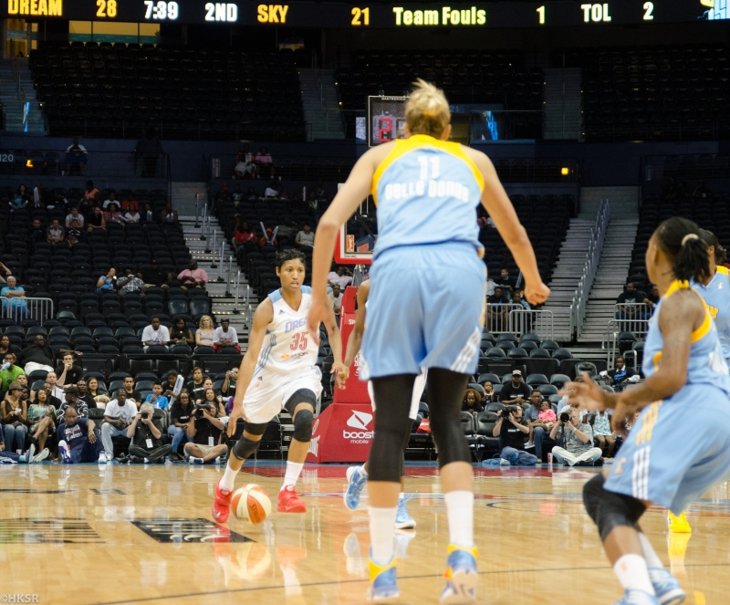 Angel McCoughtry bringing the ball downcourt