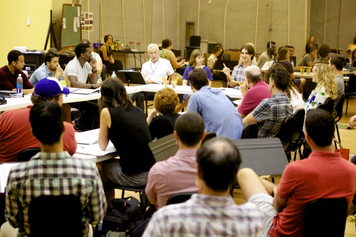 The cast and creative team on the first day of rehearsals for BULL DURHAM. (Photo by John  Maley).