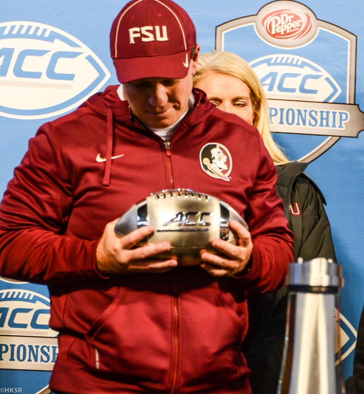 Jimbo Fisher holding his 3rd straight ACC Championship Trophy (Hakim Wright/The Peach Review®)