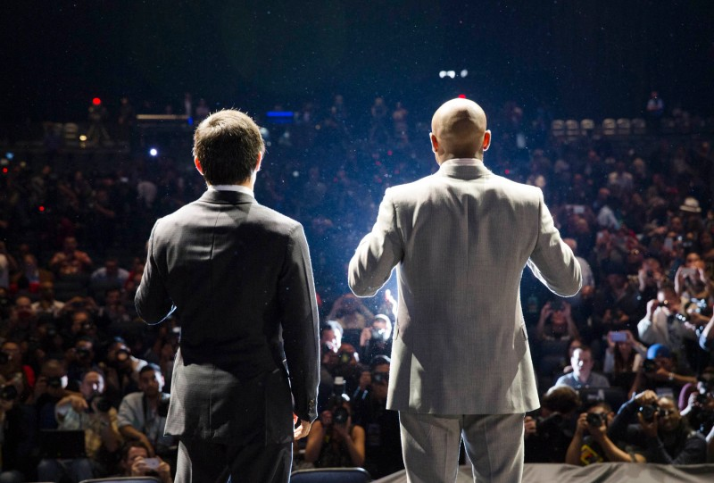 (Left) Manny Pacquiao, (Right) Floyd Mayweather. (Esther Lin/Showtime)