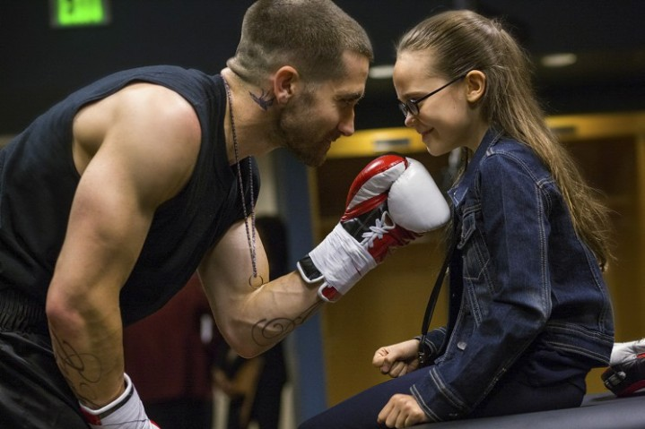 (L-R) Jake Gyllenhaal and Oona Laurence star in Southpaw