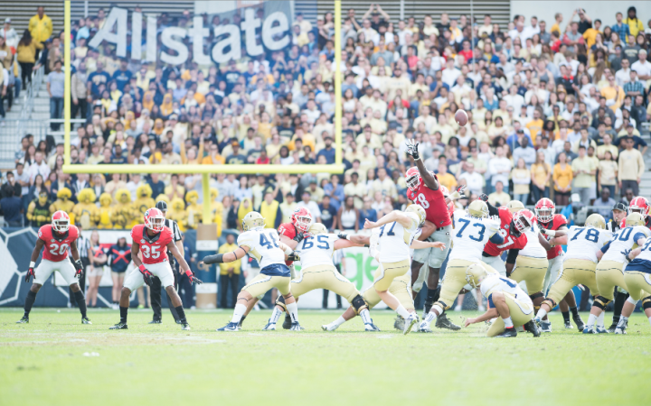Georgia Tech's Harrison Butker attempts a long field goal to get his team on the board. Hakim Wright/The Peach Review®