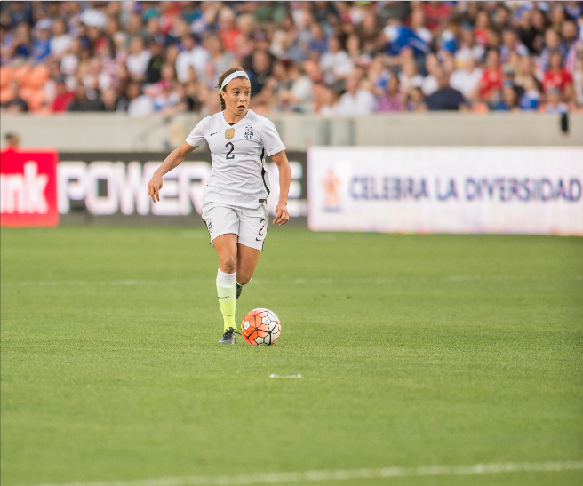 US Striker Mallory Pugh dribbles the ball in open field (Hakim Wright)