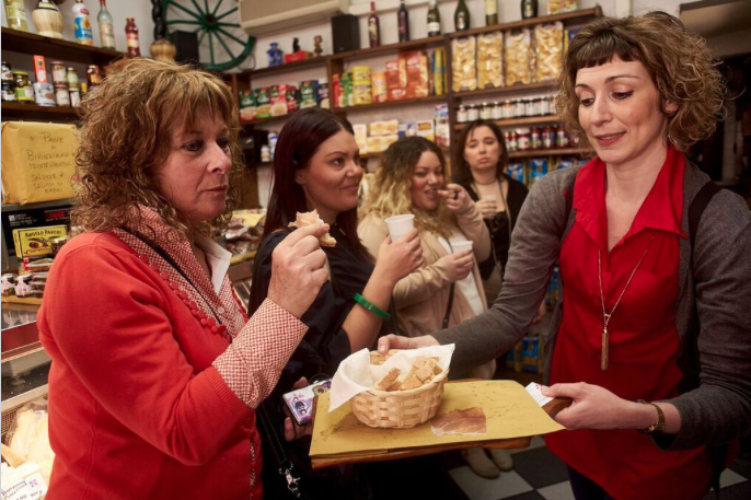 Tasting prosciutto toscano at Alimentari Sandro & Ivana