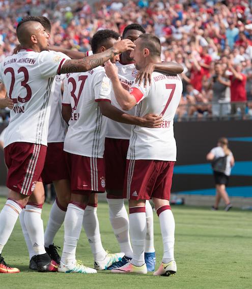 Bayern Munich celebrate their second goal. (Hakim Wright)