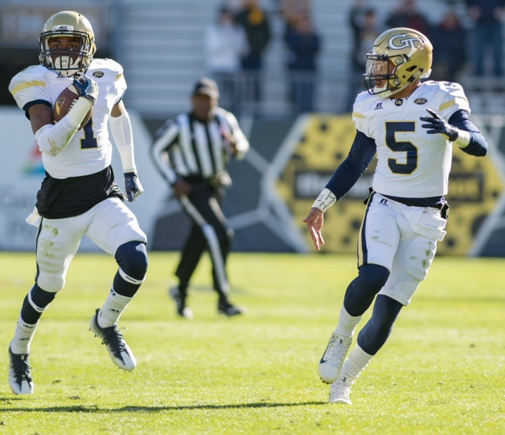 Georgia Tech made most of their headway on the ground against the Virginia Cavaliers (Hakim Wright).