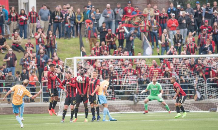 Atlanta United formed a wall of defense comprised of Yamil Asad, Chris McCann, Kenwyne Jones, and Carlos Carmona on a free kick (Hakim Wright).