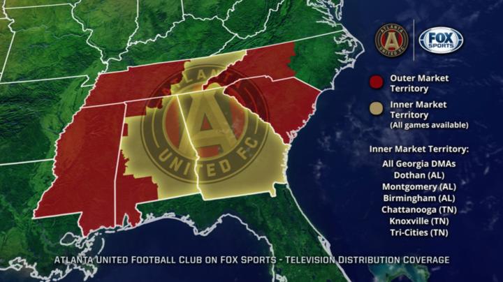 ATLUTD Fox Sports Coverage Map