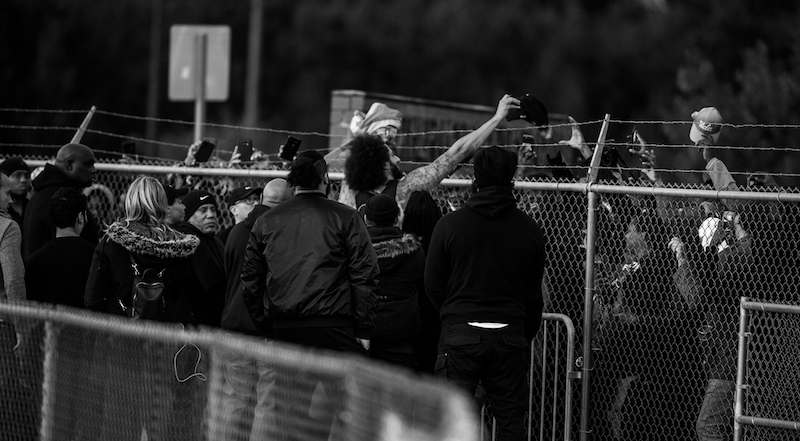Fans line the fence at Kaepernick workout